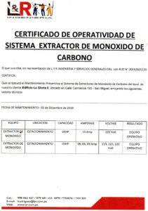 Certificado de Operatividad de Monoxido de Carbono en Miraflores