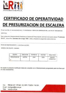 Certificado de Mantenimiento de Presurización de Escalera